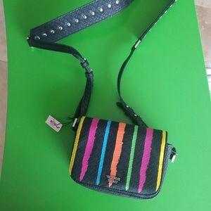 *Victorias Secret Black Leather Purse Rainbow